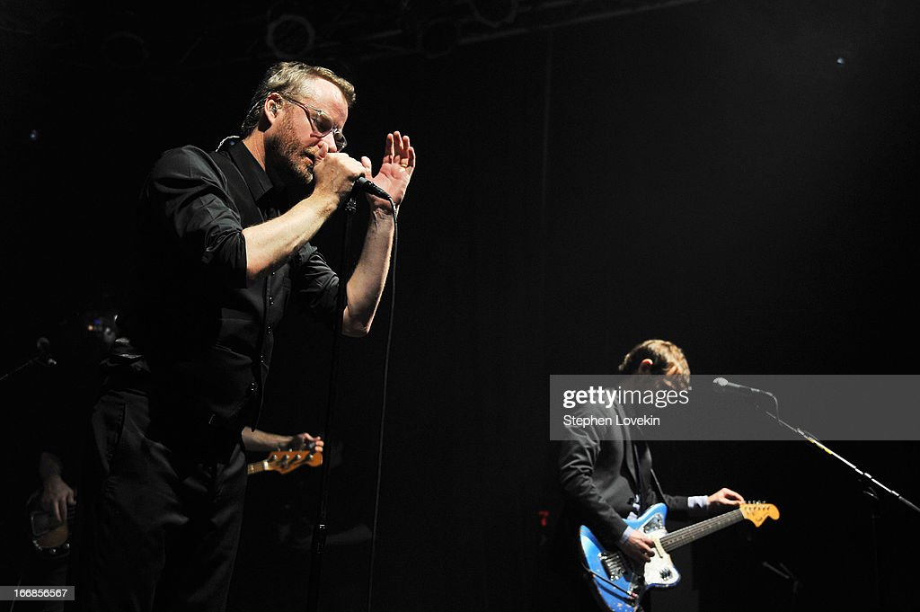 <a gi-track='captionPersonalityLinkClicked' href=/galleries/search?phrase=Matt+Berninger&family=editorial&specificpeople=4334193 ng-click='$event.stopPropagation()'>Matt Berninger</a> and <a gi-track='captionPersonalityLinkClicked' href=/galleries/search?phrase=Aaron+Dessner&family=editorial&specificpeople=4502820 ng-click='$event.stopPropagation()'>Aaron Dessner</a> of The National perform at the 2013 Tribeca Film Festival opening night after party for 'Mistaken For Strangers' sponsored by American Express on April 17, 2013 in New York City.