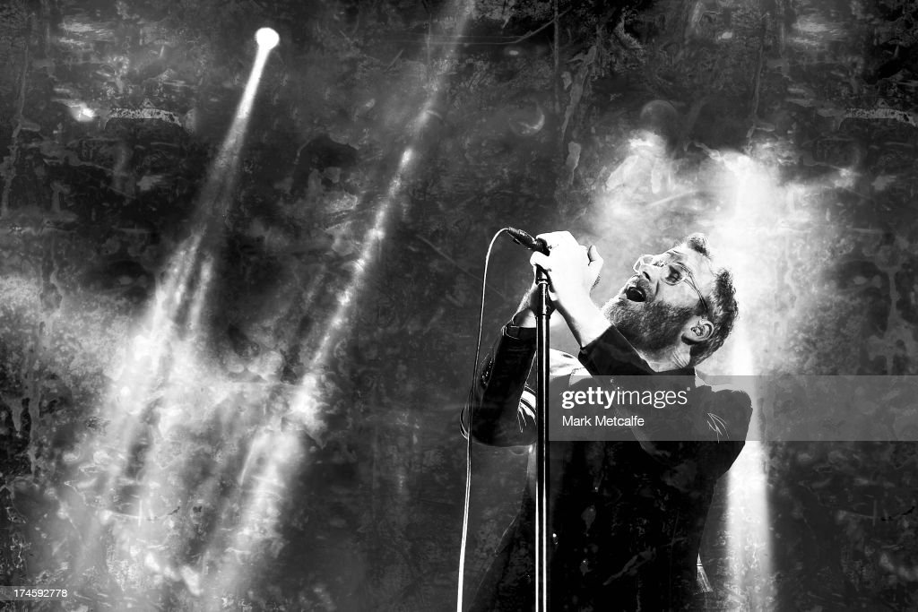 <a gi-track='captionPersonalityLinkClicked' href=/galleries/search?phrase=Matt+Berninger&family=editorial&specificpeople=4334193 ng-click='$event.stopPropagation()'>Matt Berninger</a> of the National performs for fans on day 2 of the 2013 Splendour In The Grass Festival on July 27, 2013 in Byron Bay, Australia.