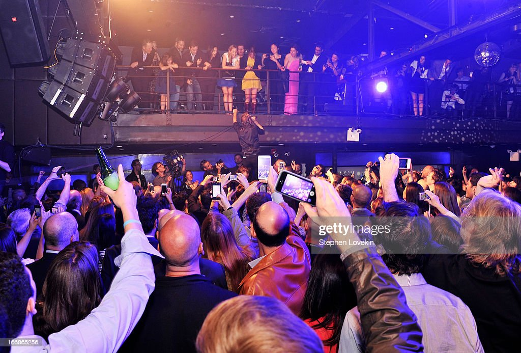 <a gi-track='captionPersonalityLinkClicked' href=/galleries/search?phrase=Matt+Berninger&family=editorial&specificpeople=4334193 ng-click='$event.stopPropagation()'>Matt Berninger</a> (C) of The National performs in the crowd at the Opening Night After Party and Performance during the 2013 Tribeca Film Festival on April 17, 2013 in New York City.