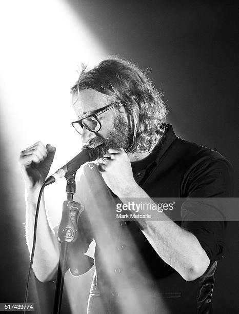 Matt Berninger of The National performs live for fans at the 2016 Byron Bay Bluesfest on March 25 2016 in Byron Bay Australia