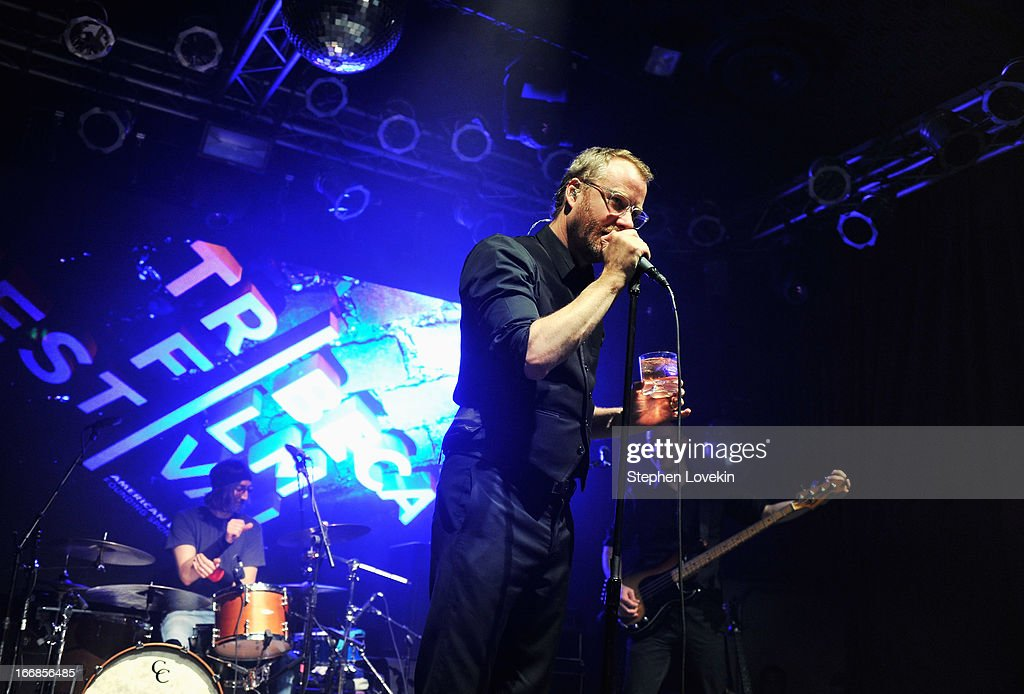 <a gi-track='captionPersonalityLinkClicked' href=/galleries/search?phrase=Matt+Berninger&family=editorial&specificpeople=4334193 ng-click='$event.stopPropagation()'>Matt Berninger</a> of The National performs on stage at the Opening Night After Party and Performance during the 2013 Tribeca Film Festival on April 17, 2013 in New York City.