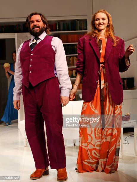 Matt Berry and Lily Cole bow at the curtain call during the press night performance of 'The Philanthropist' at the Trafalgar Studios on April 20 2017...