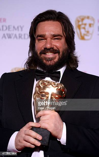 Matt Berry winner of Best Performace poses in the winners room at the House of Fraser British Academy Television Awards at Theatre Royal on May 10...