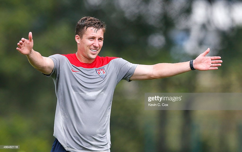 <a gi-track='captionPersonalityLinkClicked' href=/galleries/search?phrase=Matt+Besler&family=editorial&specificpeople=5664004 ng-click='$event.stopPropagation()'>Matt Besler</a> of the United States runs drills during their training session at Sao Paulo FC on June 11, 2014 in Sao Paulo, Brazil.