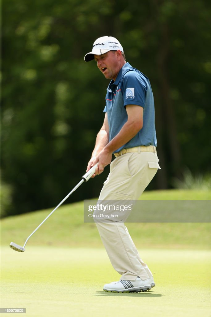 Matt Bettencourt misses his putt on the 4th during Round Two of the Zurich Classic of New Orleans at TPC Louisiana on April 25 2014 in Avondale...