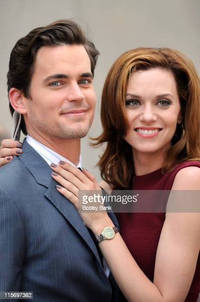 Matt Bomer and Hilarie Burton filming on location for 'White Collar' on the streets of Manhattan on June 8 2011 in New York City