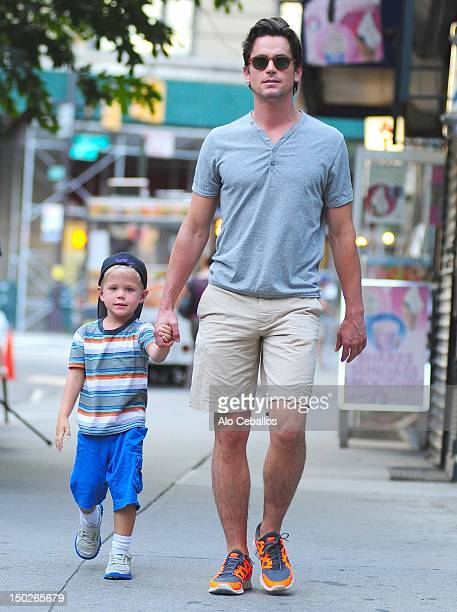 Matt Bomer and his son Kit sighting in SoHo on the streets of Manhattan on August 13 2012 in New York City