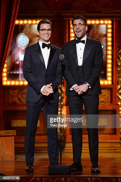 Matt Bomer and Zachary Quinto speak onstage during the 68th Annual Tony Awards at Radio City Music Hall on June 8 2014 in New York City