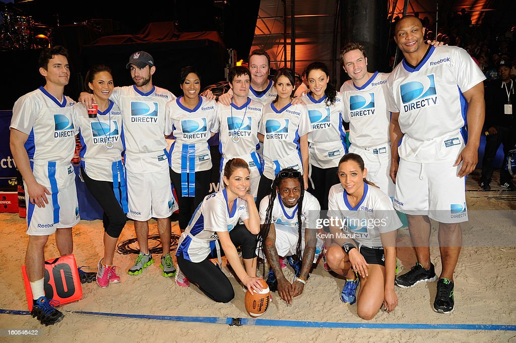 Matt Bomer, Chrissy Teigen, Chace Crawford, Alicia Quarles, Josh Hutcherson, Tom Arnold, Nina Dobrev, Leah Gibson, Scott Porter, Eddie George, (Bottom Row L-R) Maria Menounos, Lil Wayne, Lolo Jones attend DIRECTV'S 7th annual celebrity Beach Bowl at DTV SuperFan Stadium at Mardi Gras World on February 2, 2013 in New Orleans, Louisiana.
