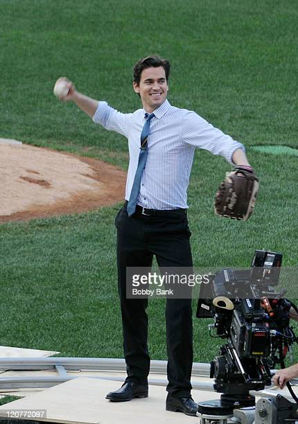 Matt Bomer seen on location for 'White Collar' playing baseball in Staten Island on August 9 2011 in New York United States