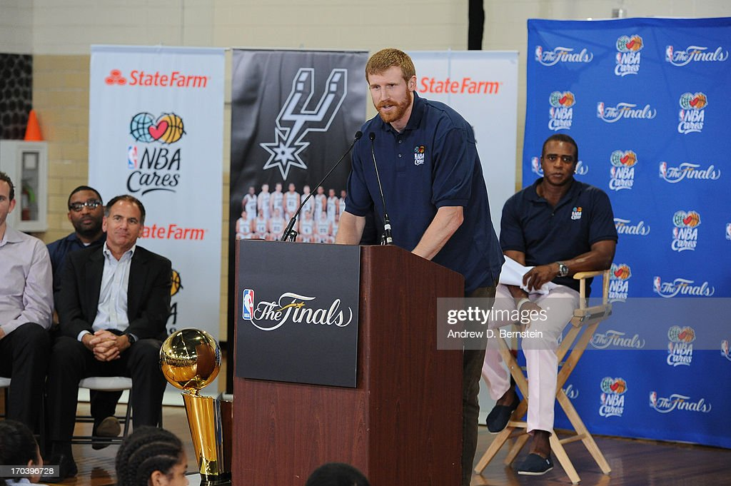 <a gi-track='captionPersonalityLinkClicked' href=/galleries/search?phrase=Matt+Bonner&family=editorial&specificpeople=203054 ng-click='$event.stopPropagation()'>Matt Bonner</a> of the San Antonio Spurs addresses everyone at the 2013 NBA Cares Legacy Project as part of the 2013 NBA Finals on June 7, 2013 at the Wheatley Middle School in San Antonio, Texas.
