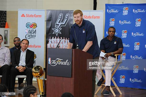 Matt Bonner of the San Antonio Spurs addresses everyone at the 2013 NBA Cares Legacy Project as part of the 2013 NBA Finals on June 7 2013 at the...