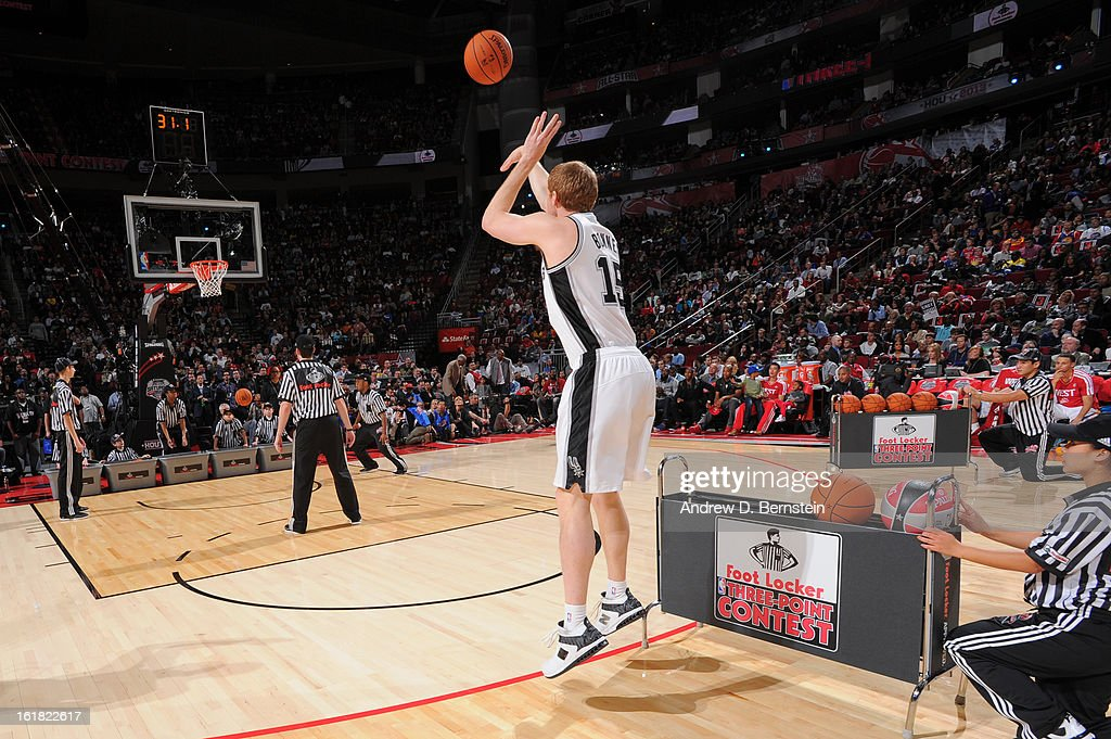 Matt Bonner #15 of the San Antonio Spurs attempts a shot during the 2013 Foot Locker Three-Point Contest on State Farm All-Star Saturday Night as part of 2013 NBA All-Star Weekend on February 16, 2013 at Toyota Center in Houston, Texas.