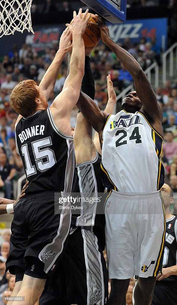 <a gi-track='captionPersonalityLinkClicked' href=/galleries/search?phrase=Matt+Bonner&family=editorial&specificpeople=203054 ng-click='$event.stopPropagation()'>Matt Bonner</a> #15 of the San Antonio Spurs blocks the shot of <a gi-track='captionPersonalityLinkClicked' href=/galleries/search?phrase=Paul+Millsap&family=editorial&specificpeople=880017 ng-click='$event.stopPropagation()'>Paul Millsap</a> #24 of the Utah Jazz during the fourth quarter of Game Four of the Western Conference Quarterfinals in the 2012 NBA Playoffs at EnergySolutions Arena on May 07, 2012 in Salt Lake City, Utah. The Spurs won the game 87-81 and swept the Jazz four games to zero.