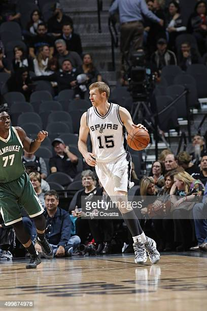 Matt Bonner of the San Antonio Spurs handles the ball against the Milwaukee Buck on December 2 2015 at the ATT Center in San Antonio Texas NOTE TO...