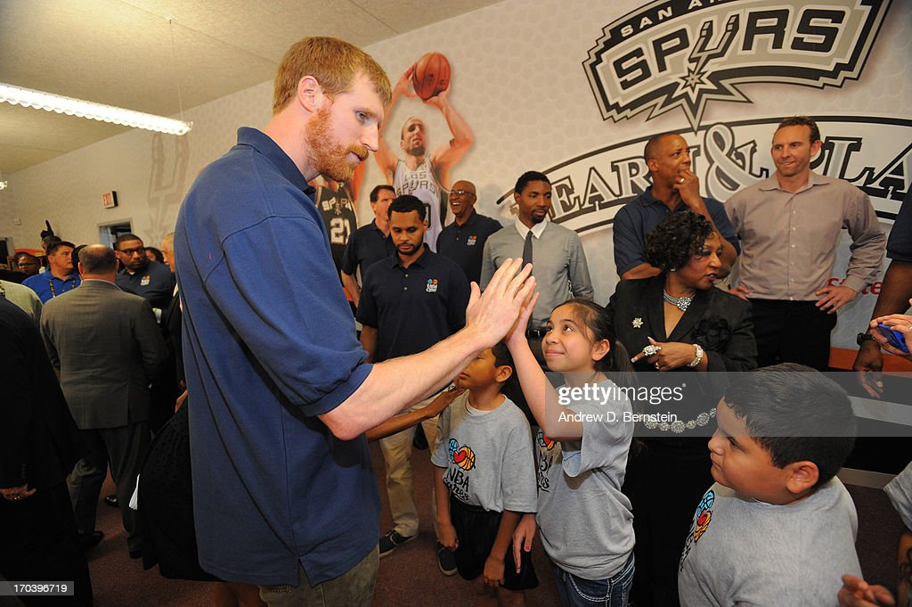 Matt Bonner of the San Antonio Spurs interacts with kids at the 2013 NBA Cares Legacy Project as part of the 2013 NBA Finals on June 7, 2013 at the Wheatley Middle School in San Antonio, Texas.