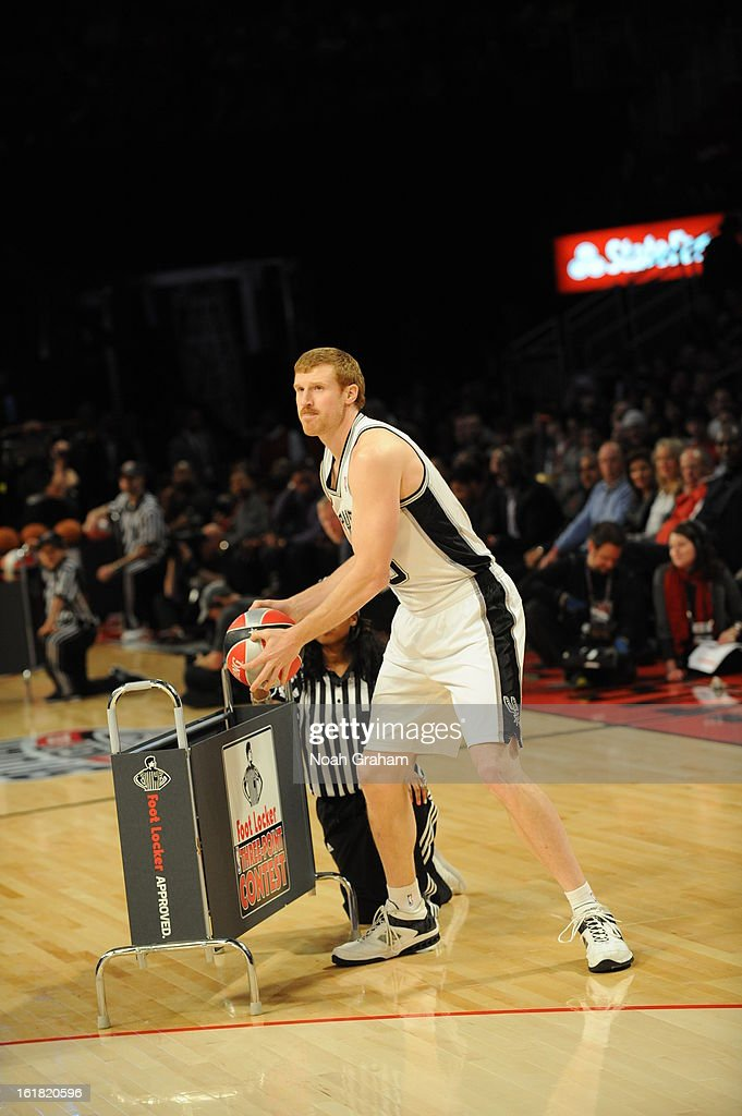 Matt Bonner #15 of the San Antonio Spurs participates during 2013 Foot Locker Three-Point Contest on State Farm All-Star Saturday Night as part of 2013 NBA All-Star Weekend on February 16, 2013 at Toyota Center in Houston, Texas.