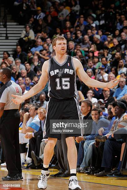 Matt Bonner of the San Antonio Spurs reacts against the Golden State Warriors on December 19 2013 at Oracle Arena in Oakland California NOTE TO USER...