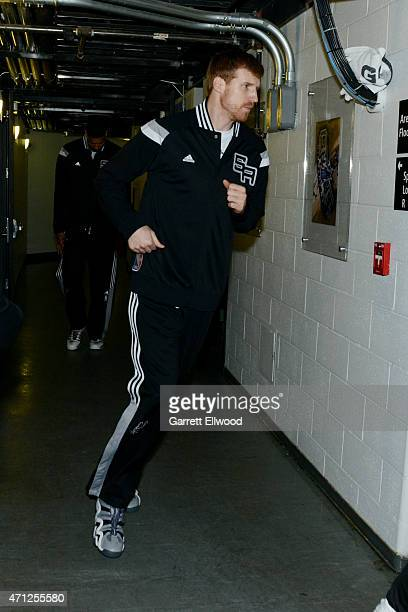 Matt Bonner of the San Antonio Spurs runs to the court before a game against the Los Angeles Clippers during Game Four of the Western Conference...
