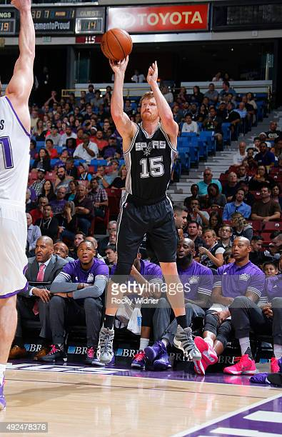 Matt Bonner of the San Antonio Spurs shoots a three pointer against the Sacramento Kings on October 8 2015 at Sleep Train Arena in Sacramento...