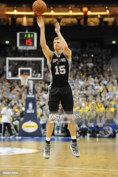 Matt Bonner of the San Antonio Spurs shoots against Alber Berlin during a game as part of the 2014 Global Games on October 8 2014 at the O2 Arena in...