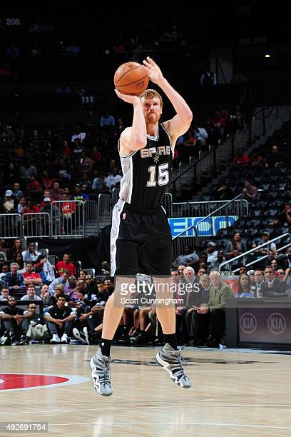 Matt Bonner of the San Antonio Spurs shoots against the Atlanta Hawks on October 14 2015 at Philips Arena in Atlanta Georgia NOTE TO USER User...