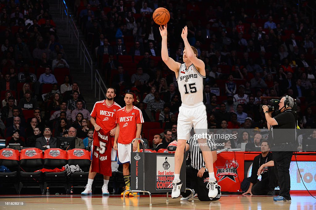 Matt Bonner #15 of the San Antonio Spurs shoots during the Foot Locker Three-Point Contest on State Farm All-Star Saturday Night during NBA All Star Weekend on February 16, 2013 at the Toyota Center in Houston, Texas.