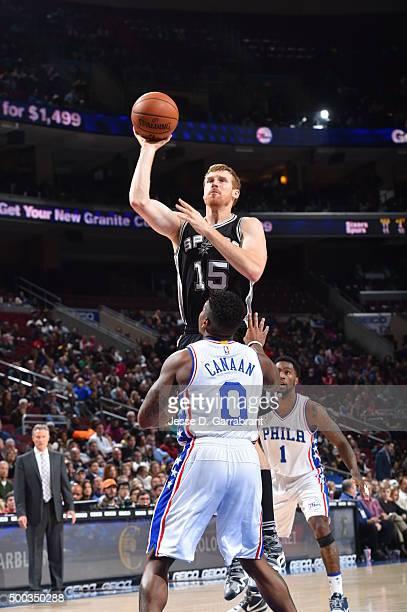 Matt Bonner of the San Antonio Spurs shoots the ball against the Philadelphia 76ers at Wells Fargo Center on December 7 2015 in Philadelphia...