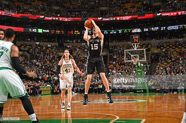 Matt Bonner of the San Antonio Spurs shoots the ball against the Boston Celtics during the game on November 30 2014 at the TD Garden in Boston...