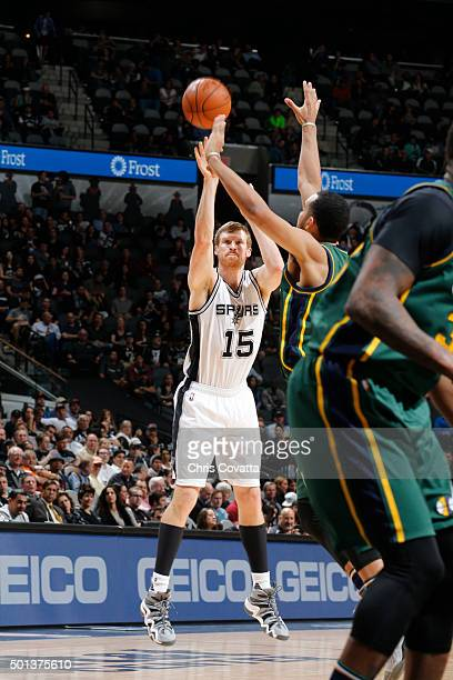 Matt Bonner of the San Antonio Spurs shoots the ball against the Utah Jazz during the game on December 14 2015 at the ATT Center in San Antonio Texas...