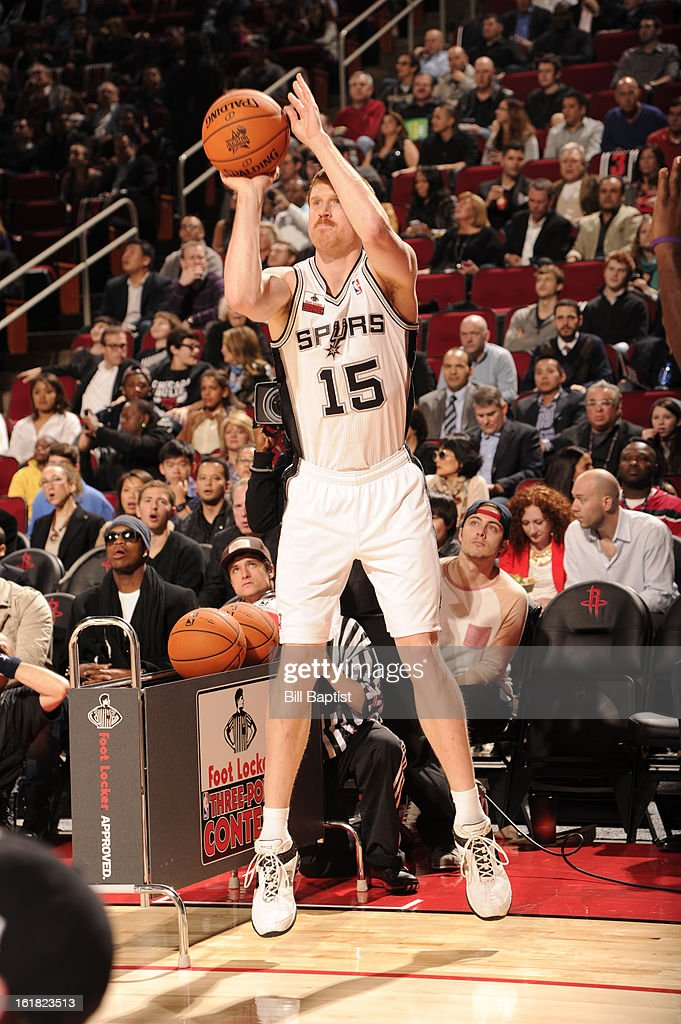 <a gi-track='captionPersonalityLinkClicked' href=/galleries/search?phrase=Matt+Bonner&family=editorial&specificpeople=203054 ng-click='$event.stopPropagation()'>Matt Bonner</a> #15 of the San Antonio Spurs shoots the ball during the 2013 Foot Locker Three-Point Contest on State Farm All-Star Saturday Night as part of 2013 NBA All-Star Weekend on February 16, 2013 at Toyota Center in Houston, Texas.