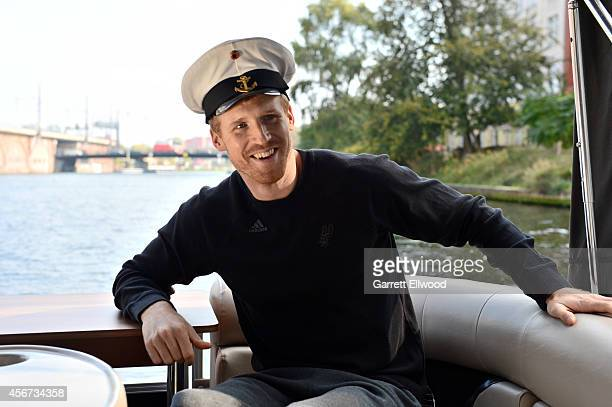 Matt Bonner of the San Antonio Spurs smiles during a boat tour of the city and as part of the 2014 Global Games on October 6 2014 in Berlin Germany...