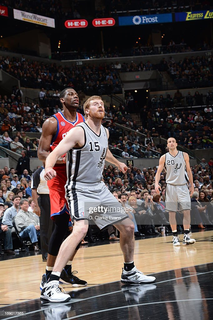 Matt Bonner #15 of the San Antonio Spurs waits for a rebound during the game between the Philadelphia 76ers and the San Antonio Spurs on January 5, 2013 at the AT&T Center in San Antonio, Texas.
