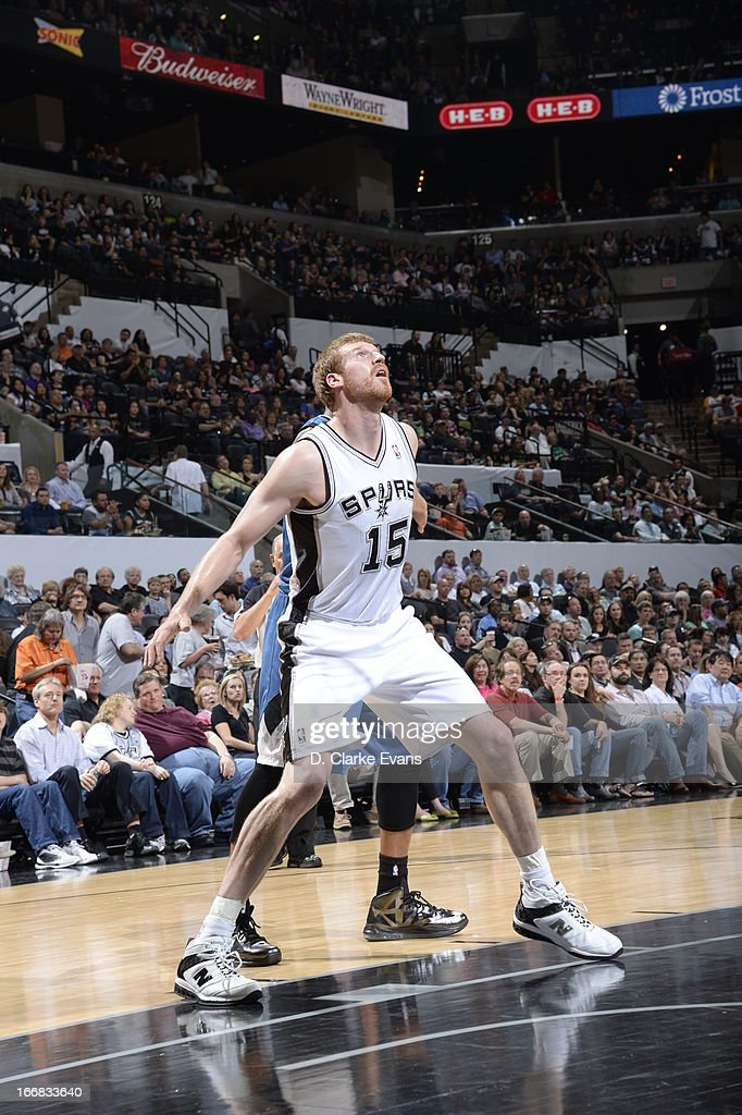 Matt Bonner #15 of the San Antonio Spurs waits for the rebound against the Minnesota Timberwolves on April 17, 2013 at the AT&T Center in San Antonio, Texas.