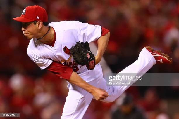 Matt Bowman of the St Louis Cardinals delivers a pitch against the Arizona Diamondback in the sixth inning at Busch Stadium on July 27 2017 in St...