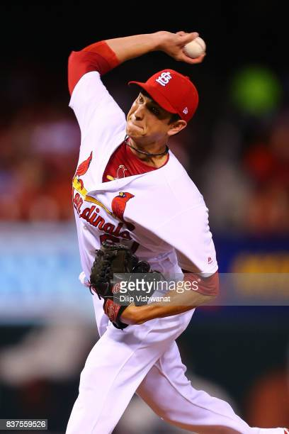 Matt Bowman of the St Louis Cardinals delivers a pitch against the San Diego Padres in the seventh inning at Busch Stadium on August 22 2017 in St...