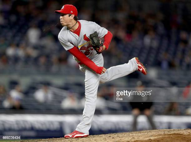 Matt Bowman of the St Louis Cardinals delivers a pitch in the fifth inning against the New York Yankees on April 16 2017 at Yankee Stadium in the...