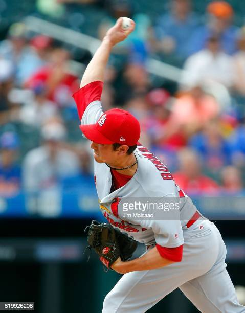 Matt Bowman of the St Louis Cardinals in action against the New York Mets at Citi Field on July 20 2017 in the Flushing neighborhood of the Queens...