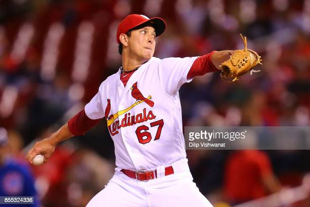 Matt Bowman of the St Louis Cardinals pitches against the Chicago Cubs in the eleventh inning at Busch Stadium on September 28 2017 in St Louis...