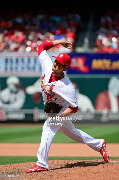 Matt Bowman of the St Louis Cardinals pitches against the Pittsburgh Pirates at Busch Stadium on April 19 2017 in St Louis Missouri