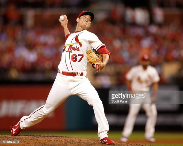 Matt Bowman of the St Louis Cardinals pitches during the seventh inning against the Arizona Diamondbacks at Busch Stadium on July 29 2017 in St Louis...