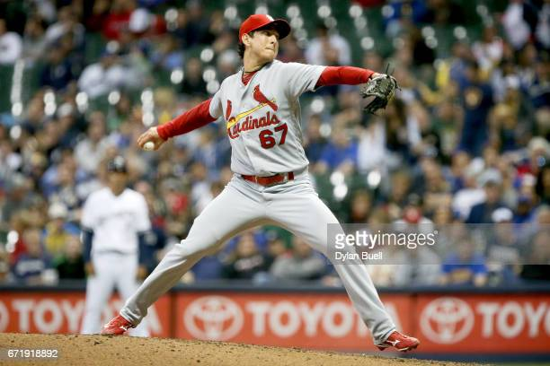 Matt Bowman of the St Louis Cardinals pitches in the seventh inning against the Milwaukee Brewers at Miller Park on April 22 2017 in Milwaukee...