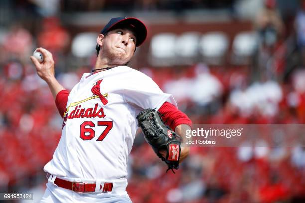 Matt Bowman of the St Louis Cardinals pitches in the seventh inning of a game against the Philadelphia Phillies at Busch Stadium on June 11 2017 in...