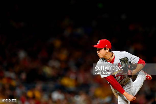 Matt Bowman of the St Louis Cardinals pitches in the seventh inning against the Pittsburgh Pirates at PNC Park on July 15 2017 in Pittsburgh...