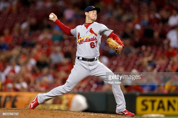 Matt Bowman of the St Louis Cardinals throws a pitch during the game against the Cincinnati Reds at Great American Ball Park on September 19 2017 in...
