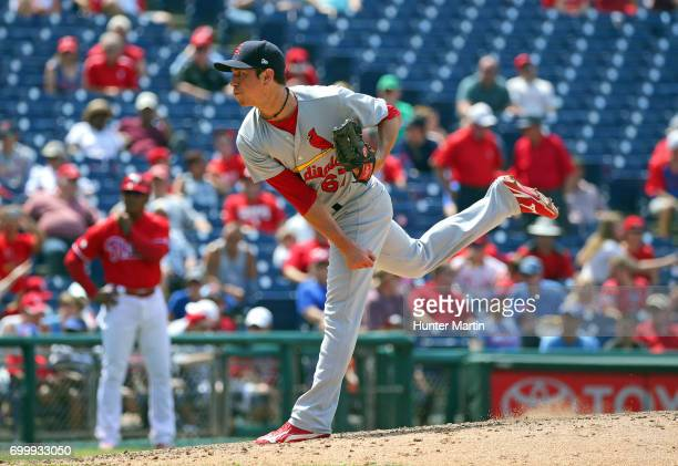Matt Bowman of the St Louis Cardinals throws a pitch in the seventh inning during a game against the Philadelphia Phillies at Citizens Bank Park on...
