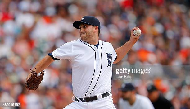 Matt Boyd of the Detroit Tigers pitches during the first inning of the game against the Texas Rangers on August 23 2015 at Comerica Park in Detroit...