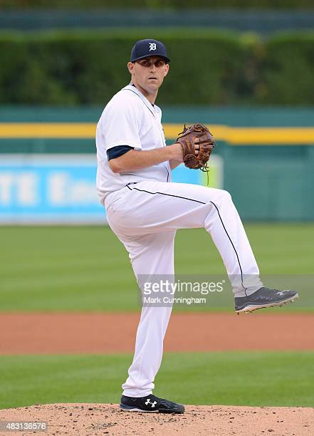 Matt Boyd of the Detroit Tigers throws a warmup pitch during the game against the Kansas City Royals at Comerica Park on August 5 2015 in Detroit...