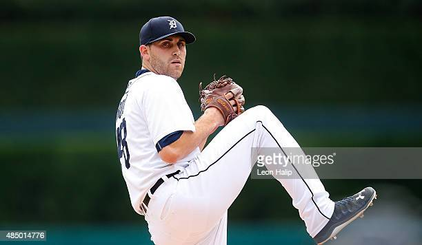 Matt Boyd of the Detroit Tigers warms up prior to the start of the game against the Texas Rangers on August 23 2015 at Comerica Park in Detroit...