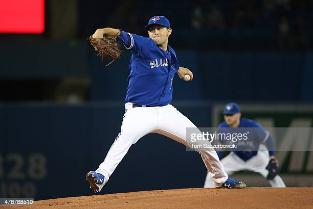 Matt Boyd of the Toronto Blue Jays delivers a pitch in the first inning during MLB game action against the Texas Rangers on June 27 2015 at Rogers...